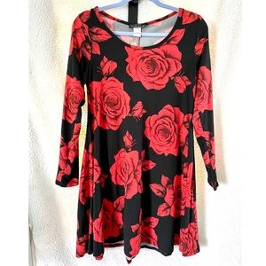 Black & Red Rose Tunic Dress with Long Sleeves
